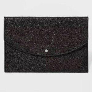 A New Day Envelope Clutch Purse Black Glitter NEW